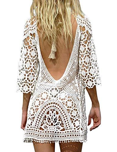 Uni-Wert Femme Robe de Plage Blanc Dentelle Crochet Col V Manche Longue Mini Robe Sexy Boho Bikini Cover Up