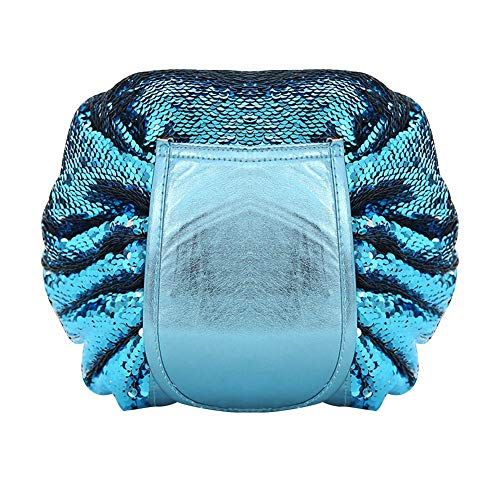 Fashion Sequin Drawstring Cosmetic Bag Case Makeup Storage Pouch (Blue)