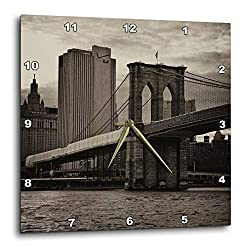 3dRose DPP_98343_1 Brooklyn Bridge, East River, Part of NYC Skyline in Sepia Wall Clock, 10 by 10