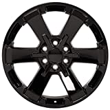 Partsynergy Replacement For 22' Rim fits 1999-2018 Chevrolet Silverado 1500 Rally Style Black 22x9 Aluminum Wheel