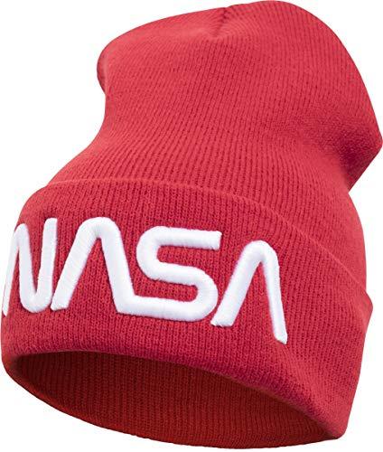 Mister Tee Unisex NASA Worm Logo Beanie Cap, red, One Size