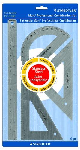 Staedtler Mars 4 pc Combination Math Set, Stainless Steel, 56632BK
