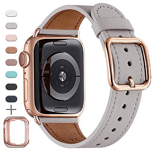 MNBVCXZ Armbänder Kompatibel mit Apple Watch Armband 38 mm 40 mm 42 mm 44 mm, Top Grain Lederband, Ersatzarmband für iWatch-Serie 5/4/3/2/1, Unique Design Edition(38mm 40mm,Hellgrau&Rosegold)