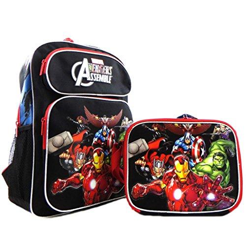 Kids Boys Licensed Avengers Iron Man Hulk Thor 16' Large School Backpack Book Bag SET Black Red