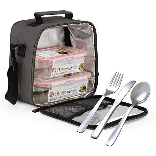 Glassfood - Bolsa Térmica Lunchbag Basic con 2 Contenedores de Vidrio de 0.57L + 0.84L y Cubiertos AISI 430 Niquel Free. Gris