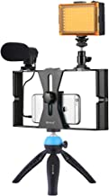 Smartphone Video Rig Kit PULUZ Smartphone Video Grip with Microphone + Video Light + Cold Shoe Tripod Head + Mini Tripod f...