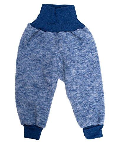 Cosilana Baby Hose mit Bund aus weichem Wollfleece, 100% Schurwolle kbT (50/56, Marine-Melange)
