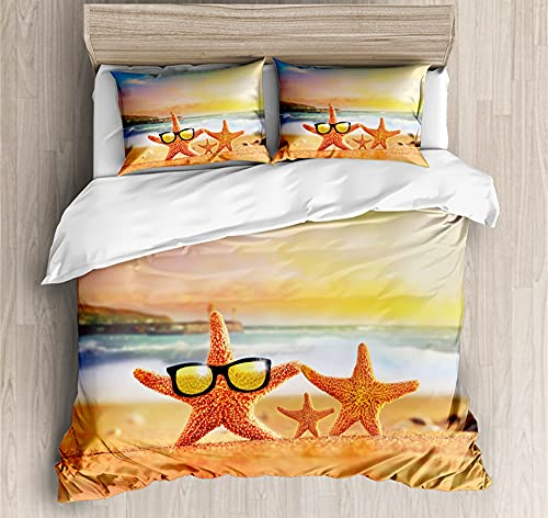 Duvet Cover Bedding,Set Ultra Soft Microfiber Bedding Starfish family watching the sunset on the beach Printed Quilt Cover with Zipper Closure,240*260cm