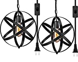 Industrial Plug in Pendant Light E26 E27 Industrial Hanging Light Metal Globe Vintage Pendant Light Fixture with 14.8Ft Hanging Cord and ON/Off Switch 2 Pack