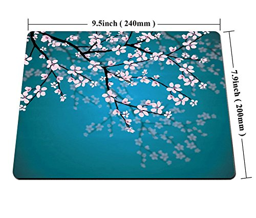 Smooffly Sakura Mouse Pad,Leaves and Plants Ombre Spring Japanese Sakura Flowers in Garden Park Gaming Mouse Pad Photo #6