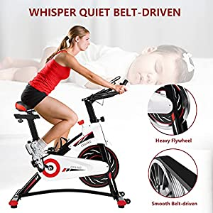 Exercise Bike, CHAOKE Indoor Cycling Bike, Stationary Bike Magnetic Resistance Whisper Quiet for Home Cardio Workout Heavy Flywheel & Comfortable Seat Cushion with Digital Monitor (New Version)