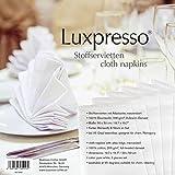 Luxpresso Vollzwirn-Damast Stoffservietten weiß / Mundservietten aus 100 % Baumwolle mit Atlaskante, 50 x 50 cm, 6 Stück - 5