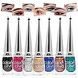 Color Diva Long Lasting Smudge Proof Water Resistant Liquid Eyeliner (Black, Blue, Silver, Copper, Dark Pink, Green, Golden) - Pack of 7