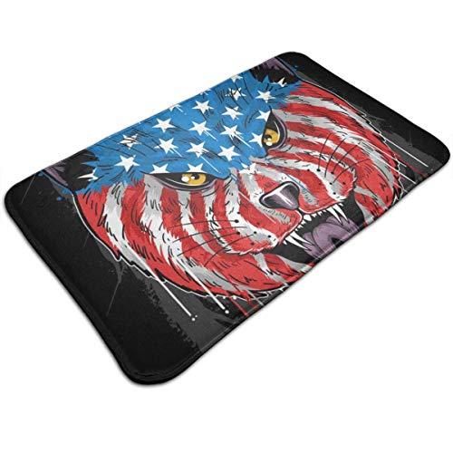 N\A USA Flagge Wolfskopf Fußmatte Home Decoration rutschfeste Fußmatten Innen- / Außen- / Haustür- / Badezimmer-Eingangsmatten Personalisierte Matte Bodenmatte Teppich
