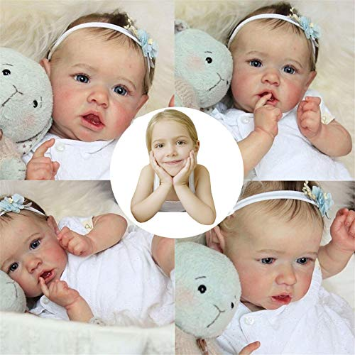 Realistische Saskia Reborn Babypuppen Graue Augen Mädchen Neugeborene Puppe Weiche Vollsilikonkörper Lebensechte Pflegepuppen Leichte Waschbare Kleinkindpuppe, 23 Zoll