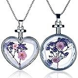Yumilok - Set di 2 ciondoli in vetro trasparente, uno a forma di cuore e uno rotondo, con all'interno veri fiori essiccati di non ti scordar di me (myosotis), colore viola, per donne/ragazze.