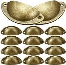 12 Stuks Shell Cup Handvatten, NALCY Retro Metalen Keukenlade Kast Deurgreep Messing Shell Pull Handgrepen voor Meubilair ...