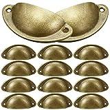 12 Piezas Pomos Puerta Retro Hierro, NALCY Tiradores para puertas de armario, Forma de Concha, Manijas del Gabinete con Forma de Media Luna con Tornillos, 82mm (Latón)