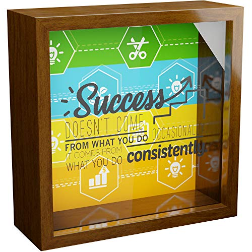 Entrepreneur Gifts | 6x6x2 Wooden Shadow Box Frame | New Business Owner Gifts | Gift for Executive Men and Women | Wall Decor Frames for Office | Entrepreneurs Themed Decorations
