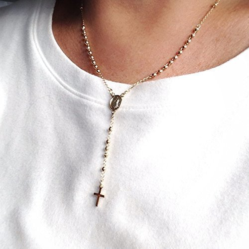 Holy Rosary Beads Catholic Cross Necklace 18k Gold Plated Rosario Virgen de Guadalupe