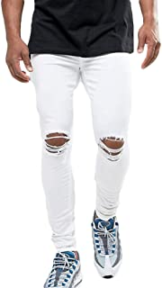 Men's Ripped Destroyed Stretchy Knee Holes Slim Tapered Leg Jeans Denim Pants