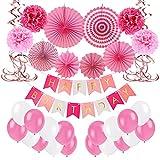 Unisun Globos de decoración de cumpleaños, pompones rosados reutilizables, bolas de panal, guirnaldas de papel de flores para cumpleaños, bodas, fiestas, fiestas mexicanas, suministros de fiesta