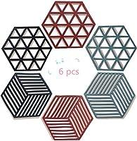 flzone tovaglietta da tavolo in silicone,6 pezzi tappetino sottopentola multiuso sottopiatto termico resistente al calore per pentole e tazze calde(polígono)