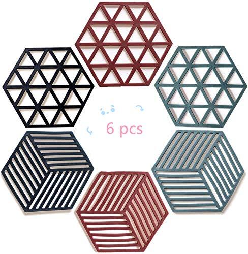 FLZONE Salvamanteles de Silicona,6 Piezas Antideslizante Resistente al Calor Posavasos Multiusos Resistente al Calor para Ollas,Salvamanteles,Posavasos Grandes(Polígono)