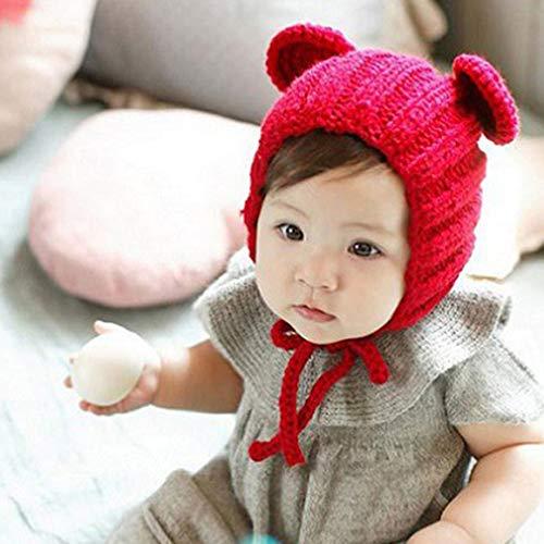 Logicstring Nuevos Sombreros para bebés Otoño e Invierno 0-3 años Sombreros Hechos a Mano con Orejas de Oso Gorro de Punto Gorro Hecho a Mano con Orejas de Oso de Dibujos Animados para bebés, Rojo
