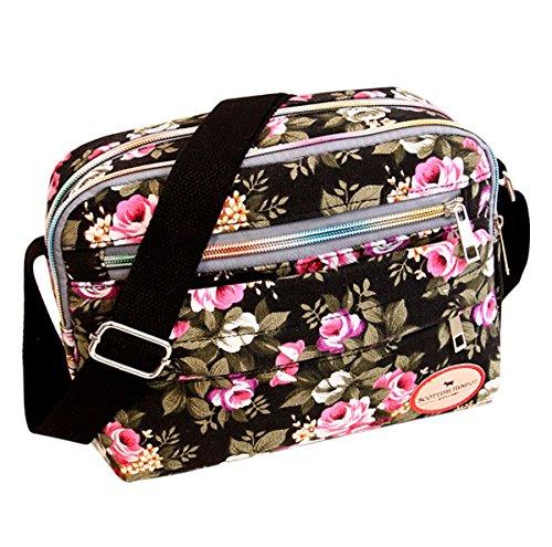 Feoya Damen Canvas Retro Schultertasche Umhängetaschen mit Blumen Pattern 26 * 19 * 7cm - Schwarz