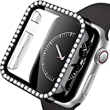 Mastten Diamond Screen Protector Case Compatible with Apple Watch 38mm, Bling Crystal PC Protective Case Bumper with Tempered Glass Screen Compatible with iWatch Series 3/2/1, Black