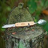 CampBuddy Campingbesteck Edestahl I Outdoor Besteck Set mit Holzgriff - Klappbar I Camping Tool für Unterwegs - 5