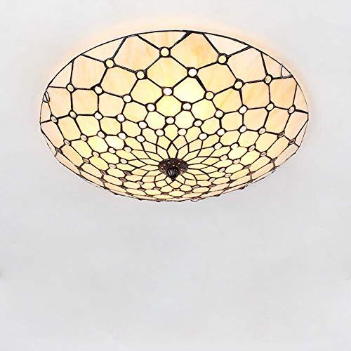LED Tiffany-Stil Deckenlampe,Dimmbare Buntglas-Deckenleuchte, 20 Zoll Breite Round Flush Mount Deckenleuchten für Schlafzimmer Wohnzimmer,D