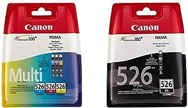 Canon CLI-526 Cartouche C/M/Y Multipack Cyan, Magenta, Jaune (Multipack Plastique sécurisé) & CLI-526 Cartouche BK Noire (...