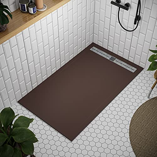 Shower Tray 900 x 1800 Stone Resin Tiber - Anti Slip and Low Profile - Matte Finish and Smooth Texture - All Sizes Available - Shower Waste and Stainless Steel Grid Included - Chocolate RAL 8017