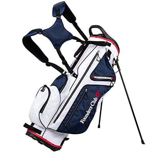 Founders Club Golf Stand Bag for Walking Carrying 14 Way Organizer Top Shaft Lock (White)