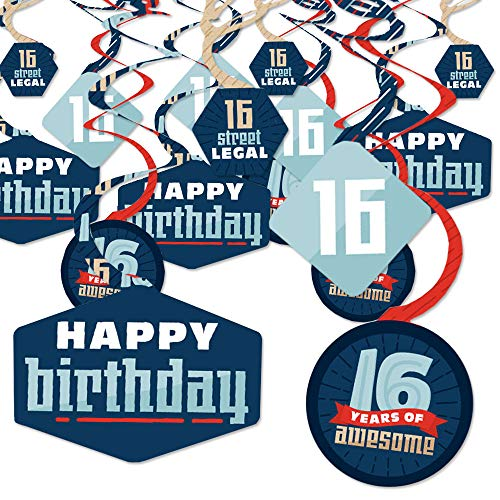 Big Dot of Happiness Boy 16th Birthday - Sweet Sixteen Birthday Party Hanging Decor - Party Decoration Swirls - Set of 40