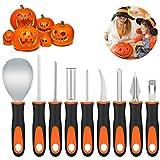 Amosfun 9 pezzi per Halloween zucca Carving Kit professionale in acciaio inox zucca carving attrezzi fai da te per la decorazione di Halloween Jack O lanterna