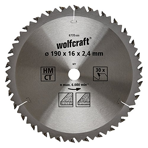 Wolfcraft 6735000 Lama per Seghe Circolari HM, 30 denti, ø 190 x 16 x 2,4 mm