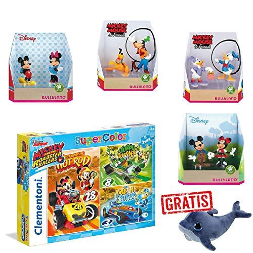 SPAR-SET 177153 - Bullyland - Disney - Micky Maus - Figuren-Set mit Clementoni Puzzle 3 x 48 Teile