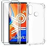 HYMY Funda para Huawei Y6S 2019 + 2 x Cristal Templado - Transparente Tapa TPU Silicona [Refuerzo de Cuatro Esquinas, Absorción de Golpes] Caso Carcasa para Huawei Y6S 2019 (6.09')
