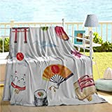 """Suda Japanese Baby Boy Blankets,Hand Drawn Traditional Elements Watercolors Torii Gate Origami Bird Flag Lacky Cat,Bamboo Blanket Multicolor 40""""x50"""" 50x60IN"""
