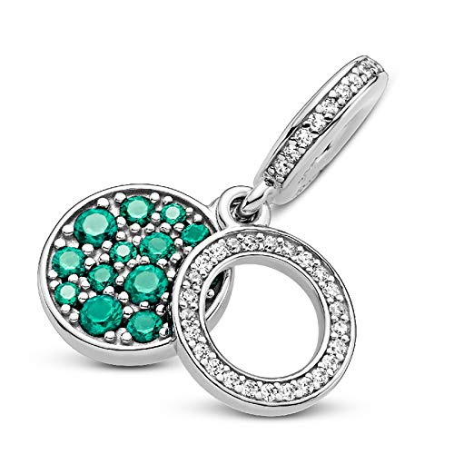 XIAOLW Colgante de plata de ley 925 Love Series Zircon Charms para pulseras originales de 3 mm y hacer joyería de moda de las mujeres (estilo 11)