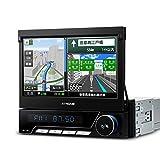 (D771GY) XTRONS 1DIN 7インチ 高画質 カーナビ DVDプレーヤー 最新入荷ゼンリン地図 カーオーディオ タッチパネル Bluetooth ラジオ USB SD対応 多彩なLED 全画面シェア 角度調整可