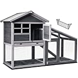 Wellhut Rabbit Hutch, Indoor and Outdoor Bunny Cage, Chicken Coop, Pet Run Quail House with Deeper No Leak Tray, UV Panel, Rabbit Cages with Removable Bottom Wire Mesh & PVC Layer