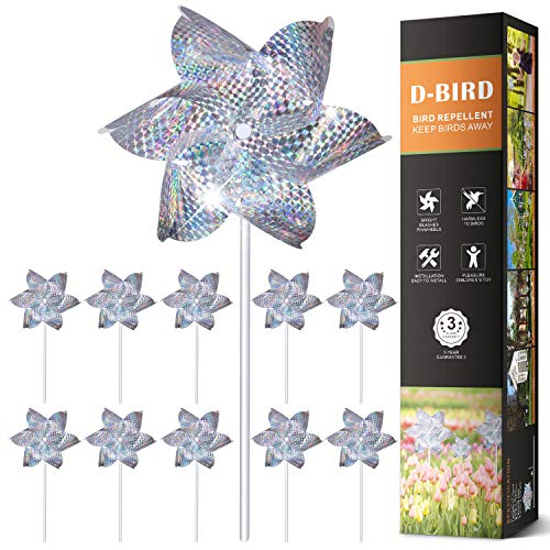 Bird Repellent PinWheels, High Effective Reflection Materials to Scare Birds Away,Sparkly Silver Spinners, Animal and Pests Deterrent-10 Pack (Pinwheel)