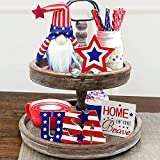 4th of July Decorations - Tiered Tray Decor - 3 Patriotic Wooden Stars and Stripes Signs - Gnomes Plush - Farmhouse Rustic Decor Items for Home Table Memorial Day Independence Labor Red White Blue