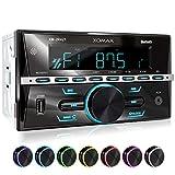 XOMAX XM-2R421 Autoradio con Bluetooth I RDS I AM, FM I USB, AUX I 7 Colori di illuminazione regolabili I 2 DIN