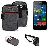 K-S-Trade® Gürtel-Tasche Für ACER Liquid M330 Handy-Tasche Schutz-hülle Grau Zusatzfächer 1x