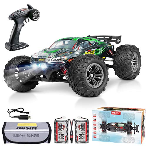 Hosim 2845 Brushless 52+ KMH 4WD High Speed RC Monster Truck, 1:16 Scale RC Car All Terrain Off-Road Waterproof 2.4GHZ Hobby Grade Remote Control Vehicle for Adults Children(Green)
